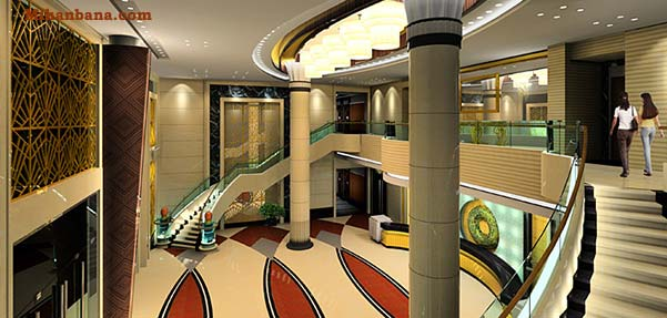 صحنه آماده لابی هتل 3dmax