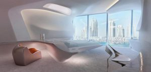 طراحی فضای داخلی برج اداری در دبی از زاها حدید