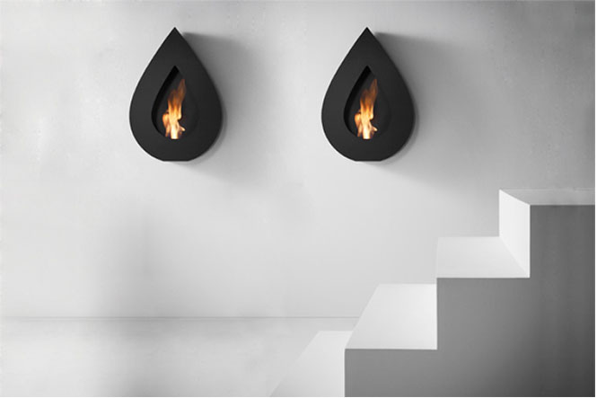 FLAME-WALL-Black-Teardrop-Fireplace