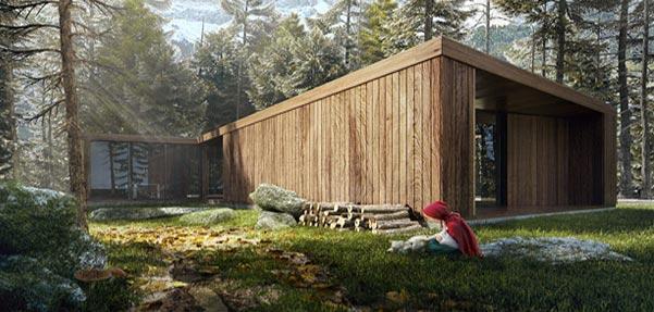 ساخت صحنه شنل قرمزی و خانه چوبی مدرن