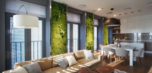 طراحی داخلی با دیوارهایی سبز و متفاوت