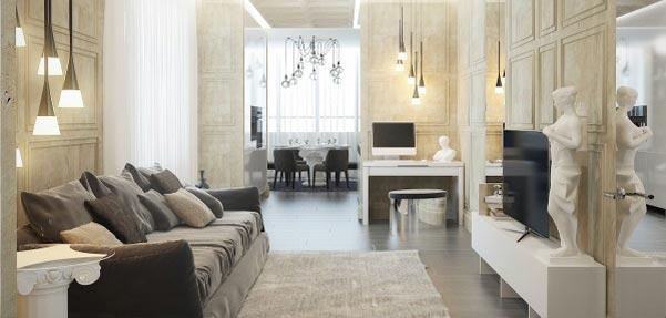 سبک کلاسیک در طراحی داخلی آپارتمان مینیمال
