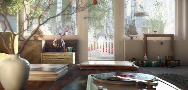 مدل سازی صحنه گرامافون با 3dsmax , SketchUp ,Corona
