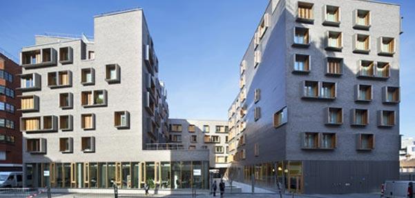 آپارتمان های Michel Guthmann آجر خاکستری را با درخت کاج ست می کند