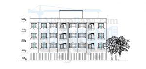 پلان سه طبقه مسکونی چهارده واحدی
