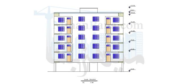 دانلود پلان 5 طبقه مسکونی با تمام جزئیات اجرایی