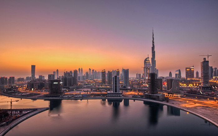 Uae-Dubai-Skyscrapers-Sunset-Hd-Wallpaper-