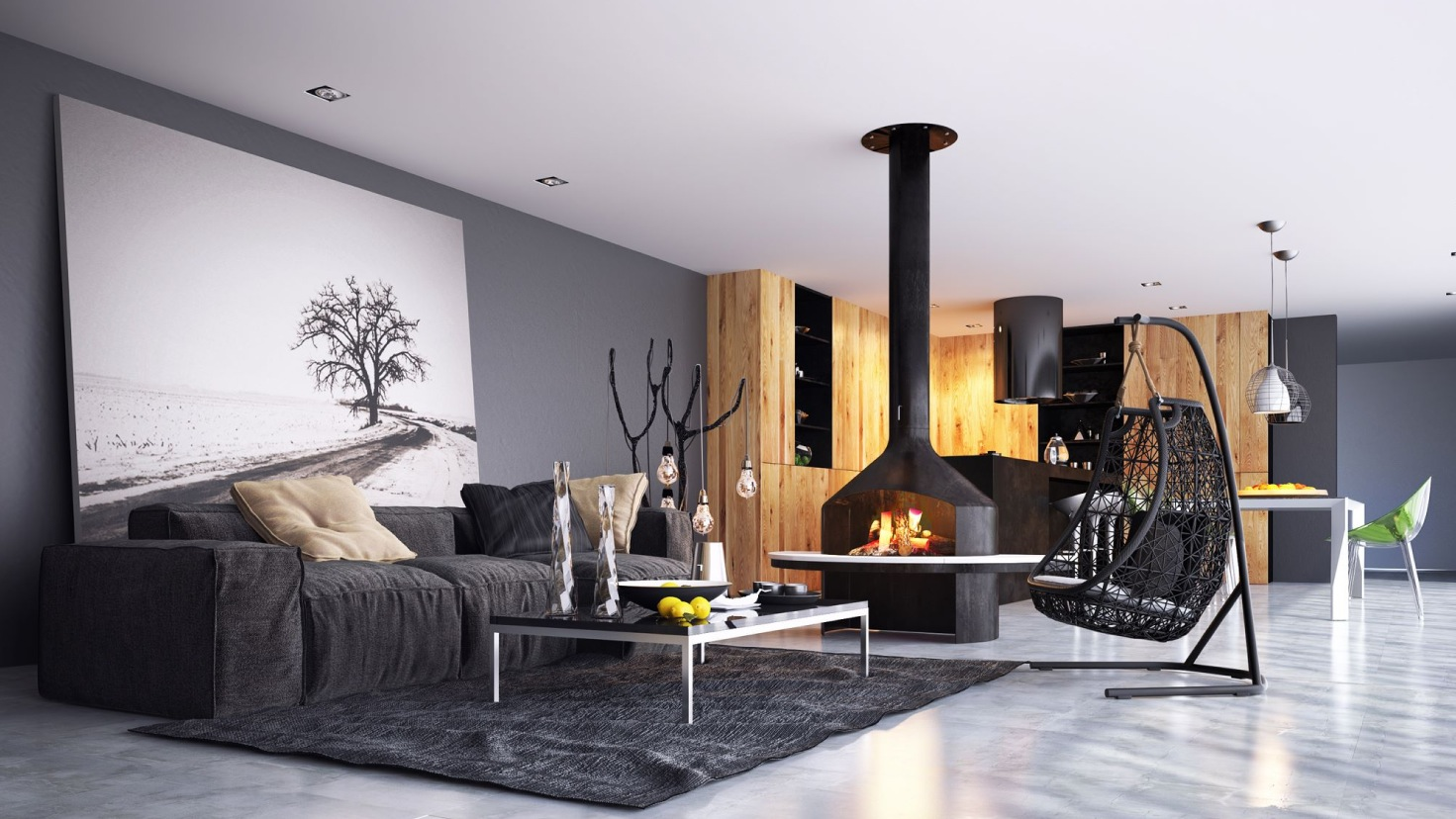 black-and-wood-themed-living
