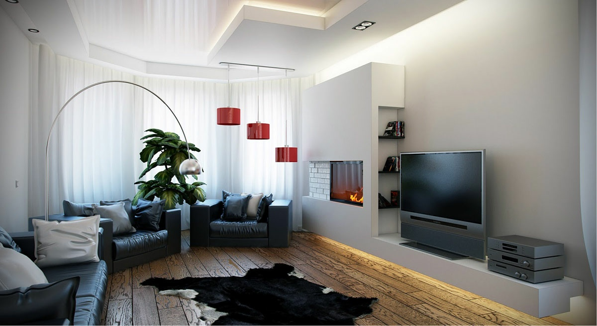 Black-white-red-living-room