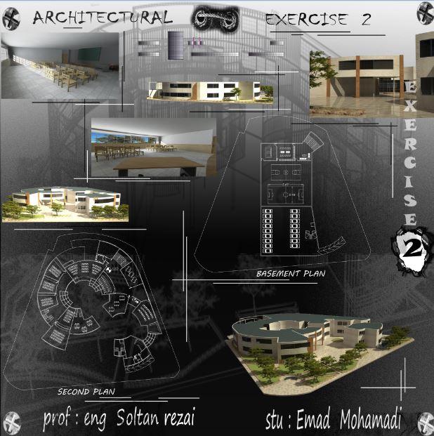 نقشه کامل طراحی فنی دبیرستان همراه با تمام جزییات اجرایی و رندر ها