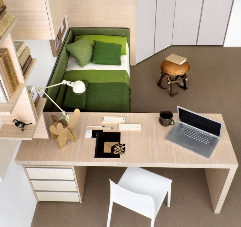 Green-white-beech-bedroom-study