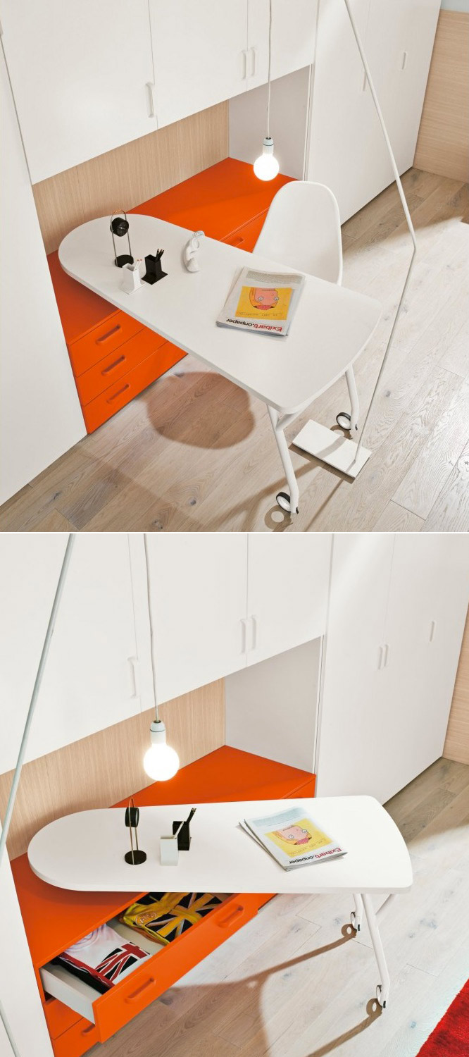 Orange-white-desk-on-wheels
