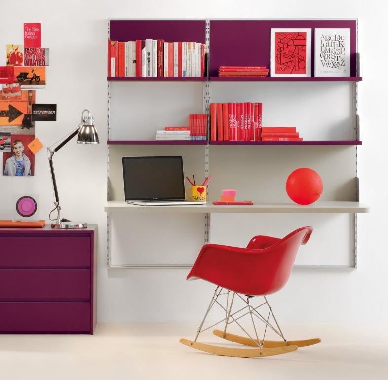 Purple-red-shelf-desk