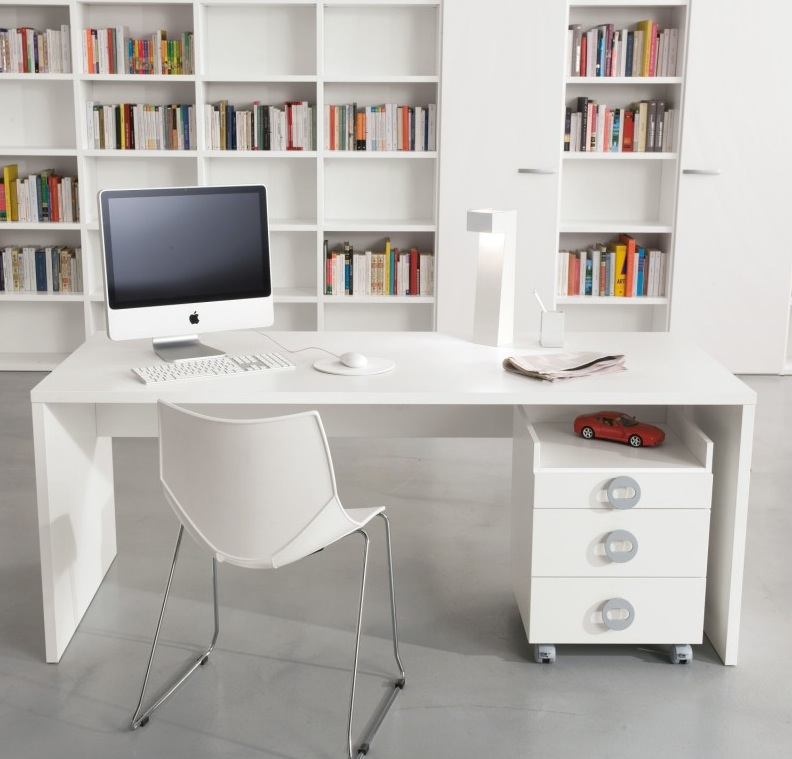 White-home-office-library