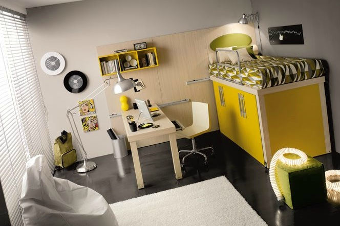shared-kids-rooms-with-yellow-and-white-and-green