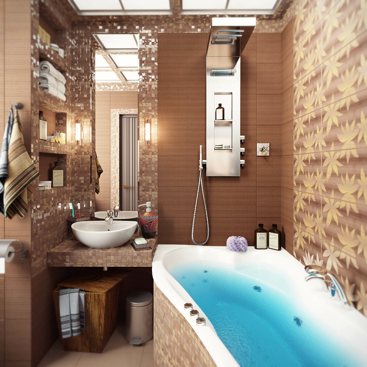 Brown-mosaic-bathroom-tile