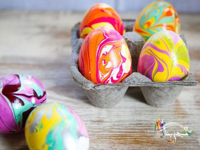 آموزش رنگ آمیزی تخم مرغ به روش ابر و بادی برای هفت سین