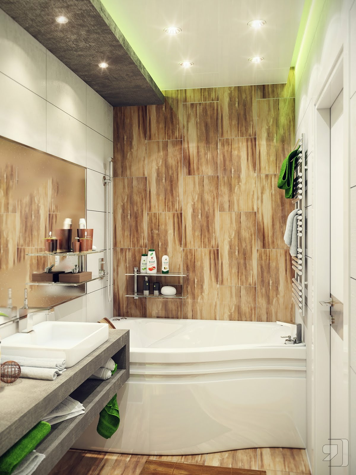 Green-white-wood-bathroom