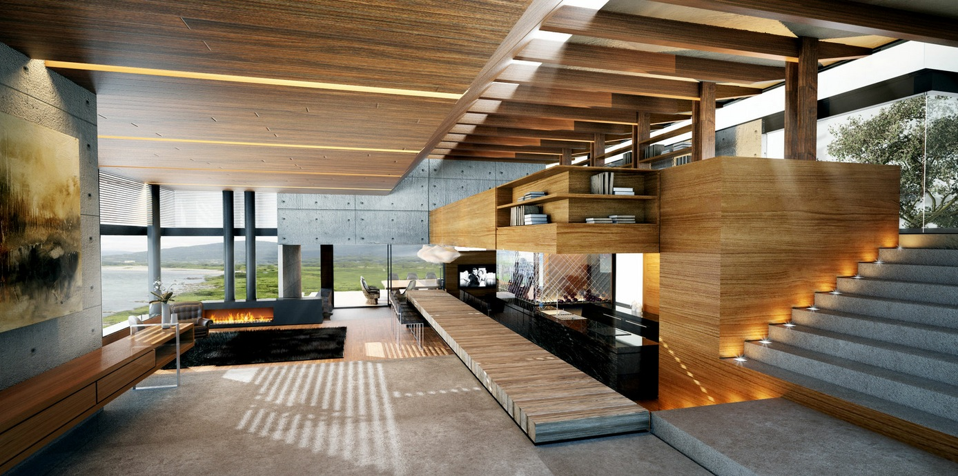 Modern-wood-and-concrete-interior