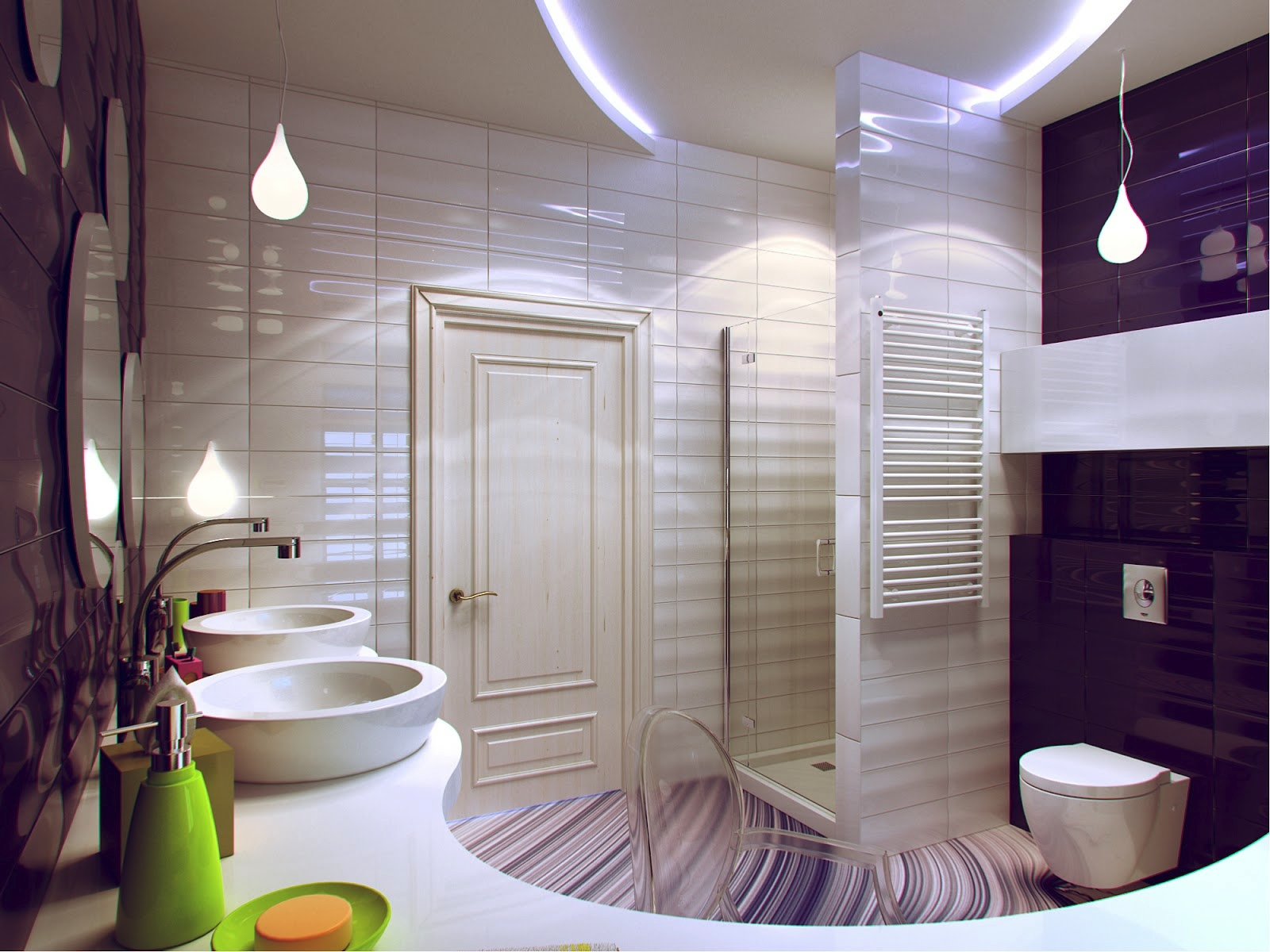 Purple-white-bathroom-decor