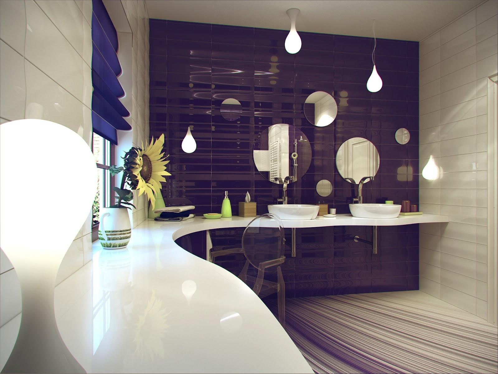 Purple-white-ceramic-bathroom-tile