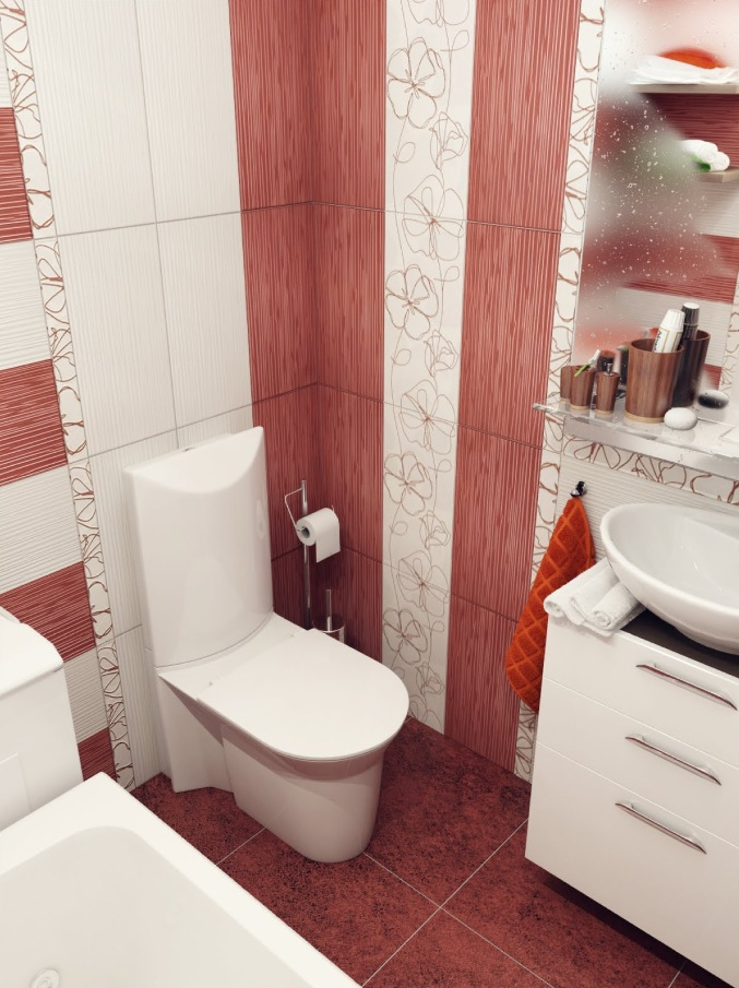 Red-white-bathroom-design