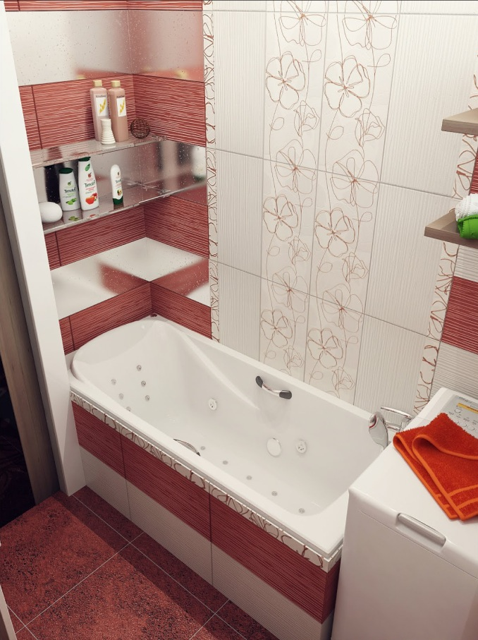 Red-white-floral-bathroom-tile