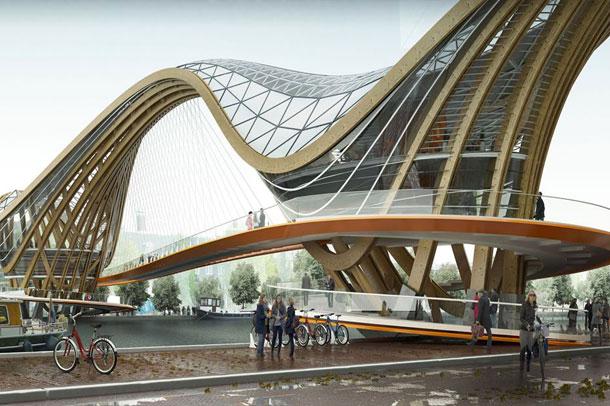 ترکیبی از پل عابر پیاده ، کافی شاپ و ایستگاه دوچرخه