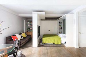 زندگی مدرن در خانه 35 متری با دیوارهای متحرک