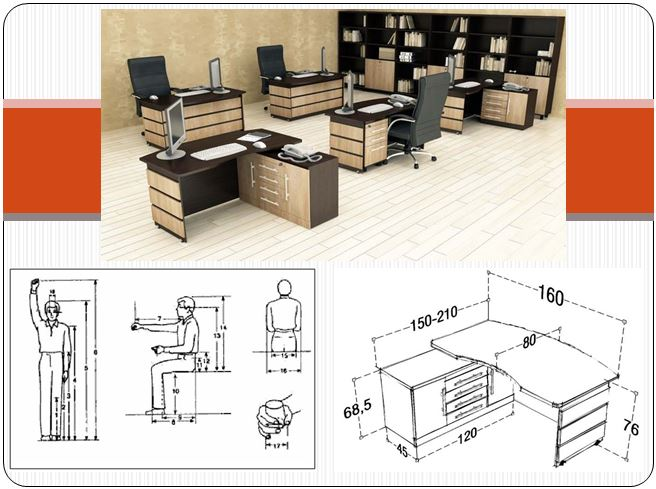 ابعاد و استاندارد فضاهای اداری در قالب پاورپوینت