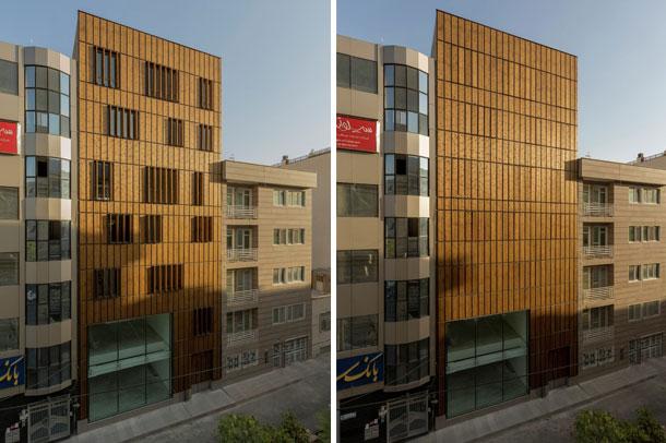 نمای متحرک ساختمان اداری تجاری سعادت آباد ; برنده جایزه معمار سال