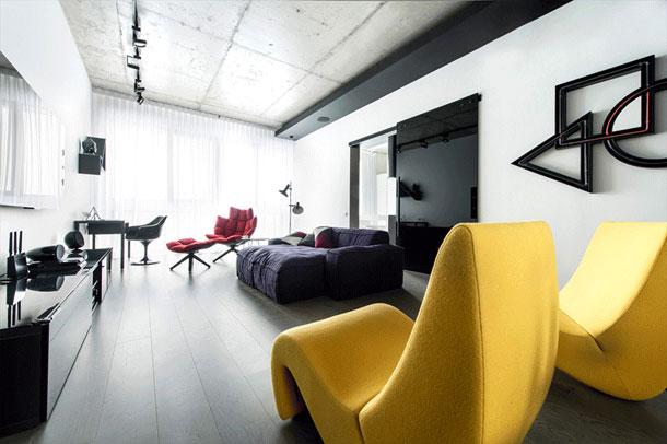 نورپردازی آپارتمان سیاه و سفید