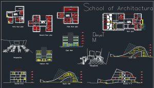دانلود نقشه اتوکدی کامل دانشگاه معماری