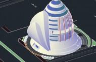دانلود نقشه کامل تجار ی اداری همراه با حجم اتوکد سه بعدی