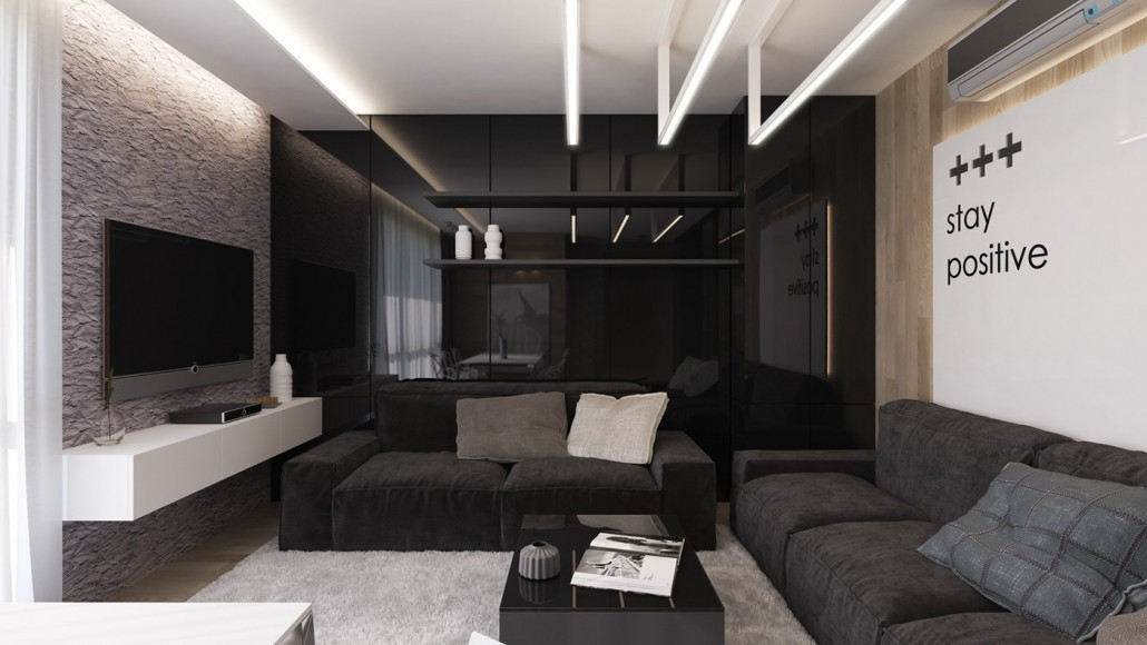 glossy-black-interior-wall