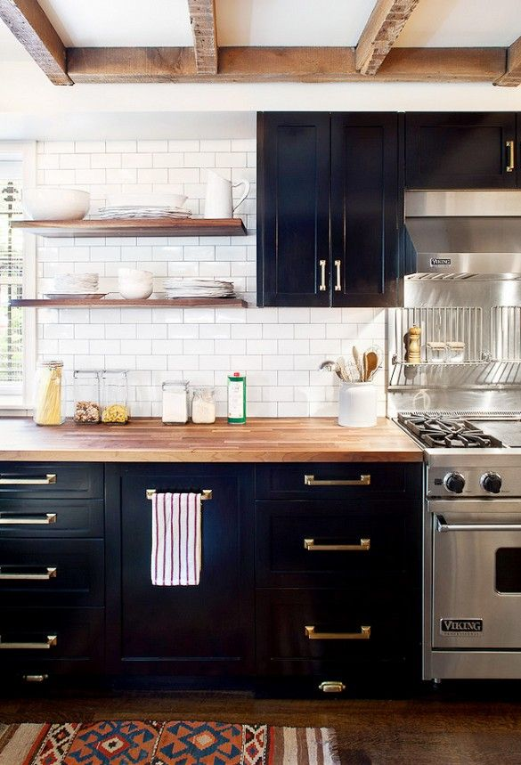 Black-with-brass-accents-for-kitchen