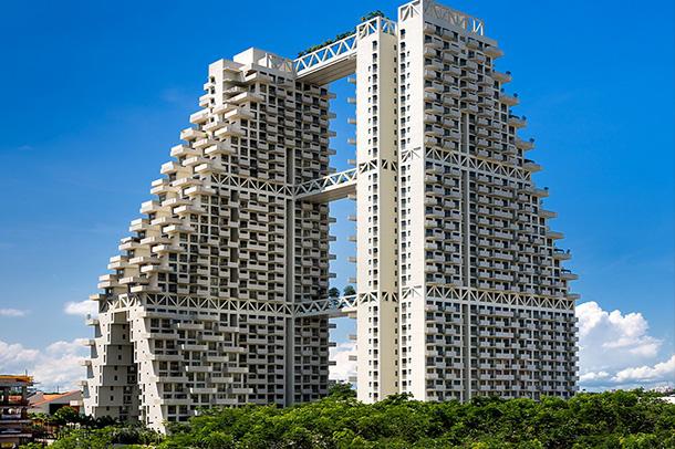 طراحی نمای خیره کننده ساختمان sky habitat واقع در سنگاپور