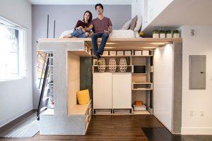 اتاقک کوچک مدرن طراحی شده به عنوان فضای چند منظوره